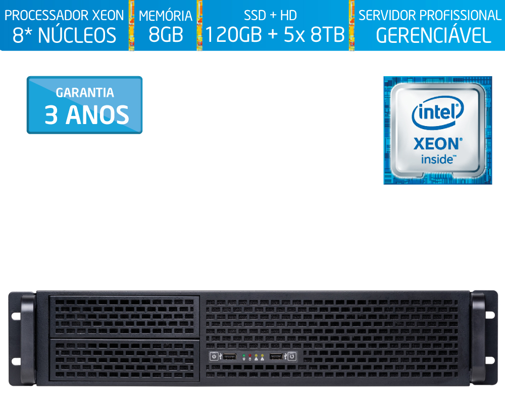 Servidor Silix® 8* Núcleos X1200R V6 Intel® Xeon E3-1270 V6 3.8 Ghz 8 MB / 8GB DDR4 ECC / 1x SSD 120GB + 5x 8TB SATA3 / DVD-RW / Rack 2U