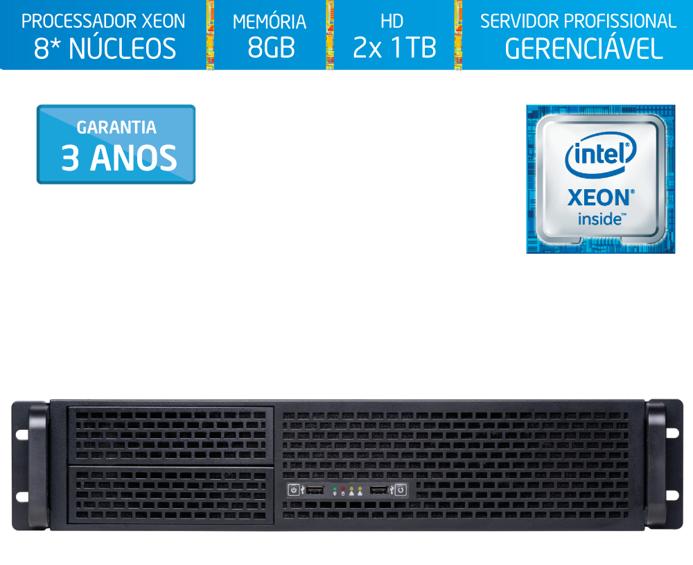 Servidor Silix® 8* Núcleos X1200R V6 Intel® Xeon E3-1240 V6 3.7 Ghz 8 MB / 8GB DDR4 ECC / 2x 1TB SATA3 / DVD-RW / Rack 2U
