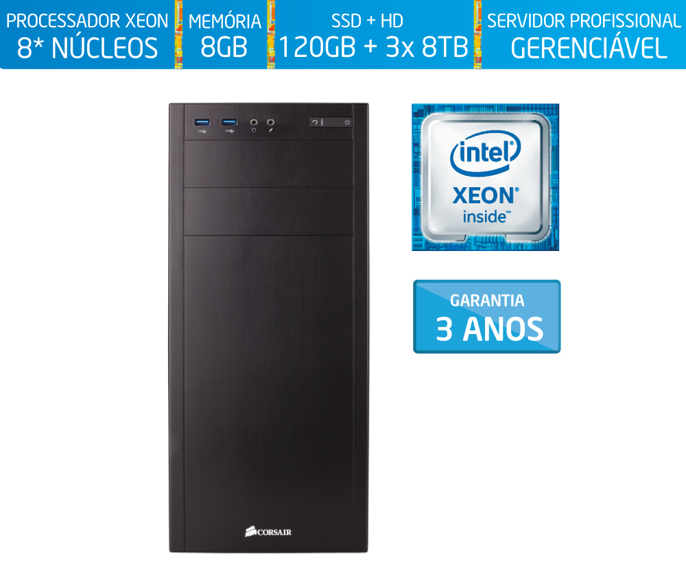 Servidor Silix® 8* Núcleos X1200T V6 Intel® Xeon E3-1270 V6 3.8 Ghz 8 MB / 8GB DDR4 ECC / SSD 120GB + 3x 8TB / DVD-RW / Torre