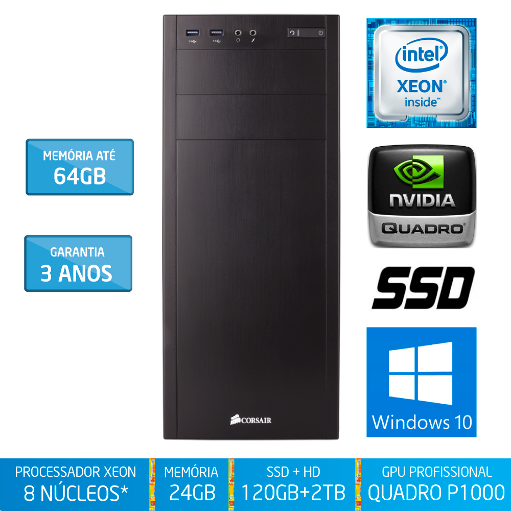 Workstation Silix® 8* Núcleos X1200WK V6 Intel Xeon E3-1230 V6 3.5 GHZ 8 MB / 24GB DDR4 / SSD 120GB + 2TB SATA3 / DVD-RW / Quadro Pascal P1000 4GB 640 CUDA / Torre / Windows 10 Pro OEM