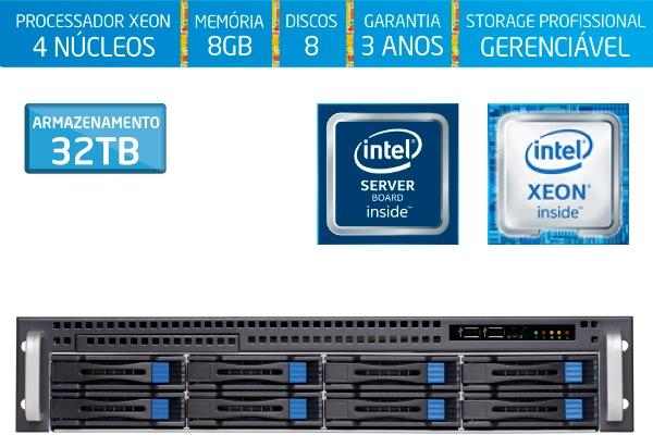 Servidor Silix 4 Núcleos E2200H8 Intel® Xeon E-2224 3.4 Ghz a 4.6 Ghz Turbo 8MB / 8GB DDR4 / 8x 4TB SATA3 Skyhawk (32TB) / RAID 0, 1, 5, 10 / Rack 2U / Hot-Swap